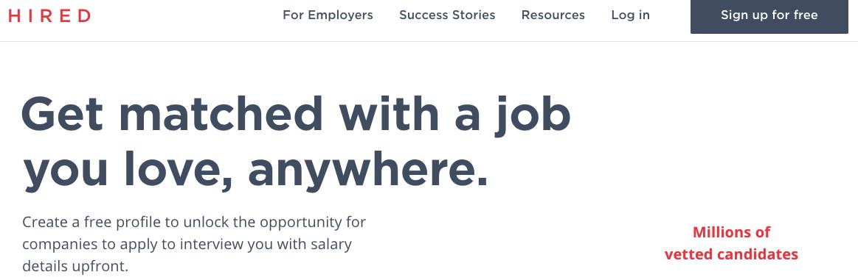 Hired求職網站