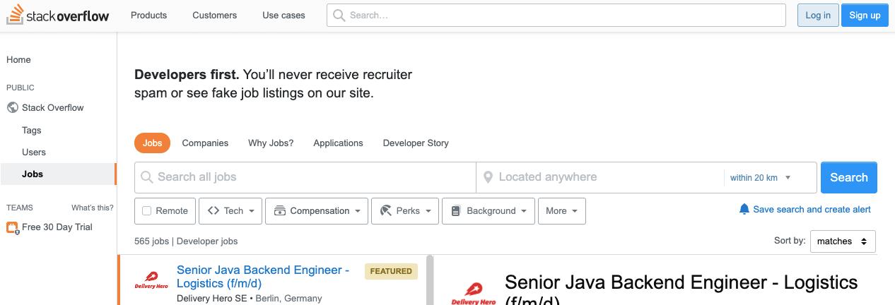 Stack Overflow求職網站